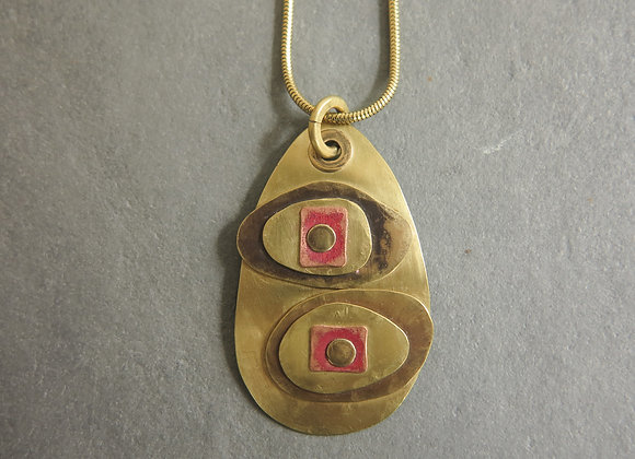 riveted brass ovals necklace