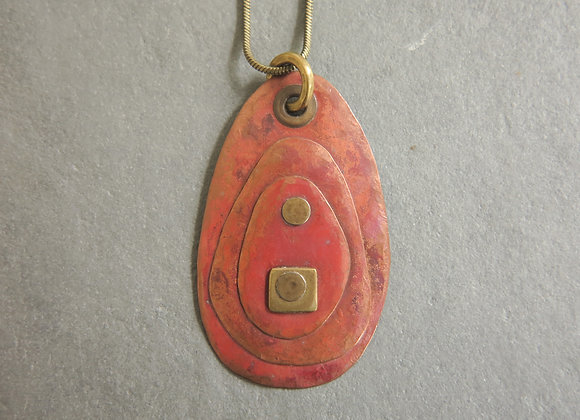 riveted copper red patina necklace