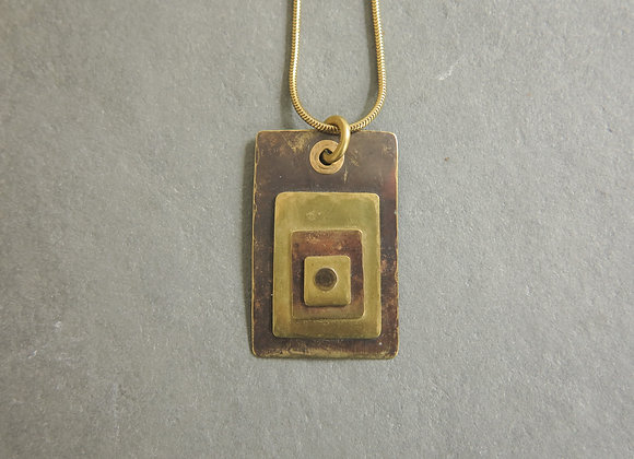 rectangle brass riveted necklace