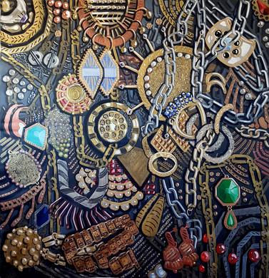 3.תיבת תכשיטים, 2019, אקריליק על בד, 195/197 ס''מ