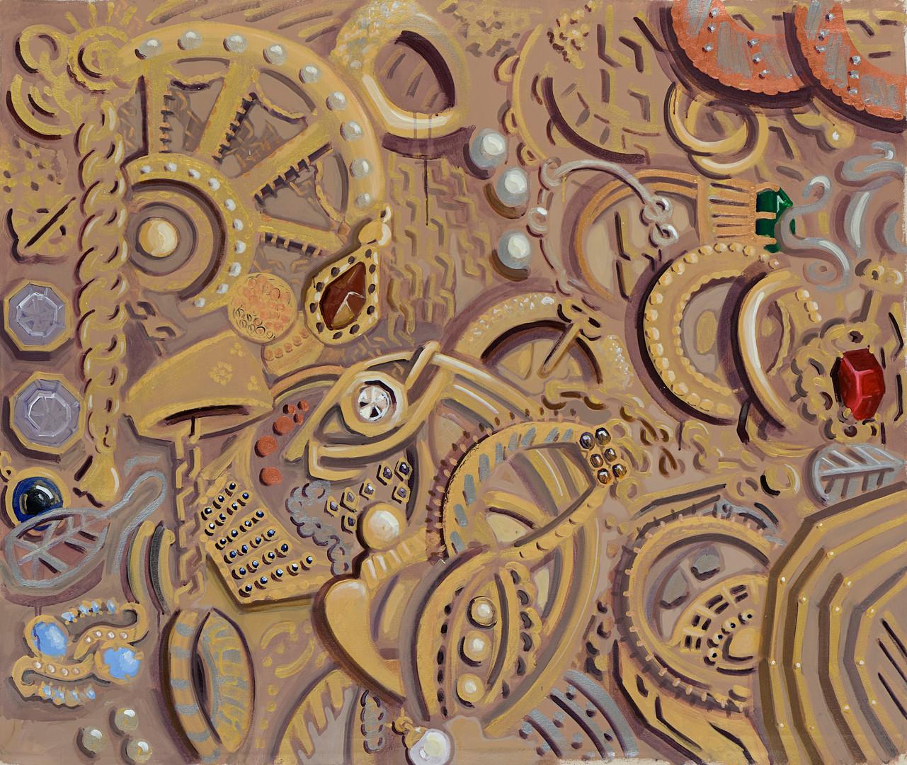 תיבת תכשיטים, 2019, אקריליק על בד, 140/115 ס''מ