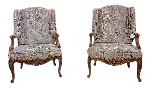 19th Century French Walnut Wing Chairs -Group of 4