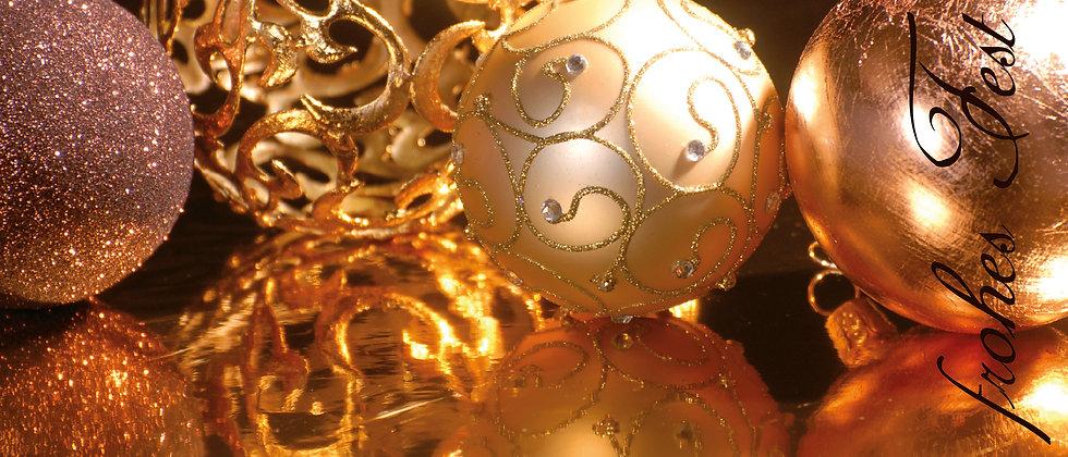 Panoramafaltkarte Weihnacht gold