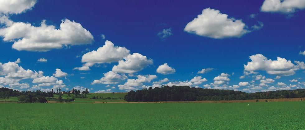 Panoramafaltkarte Wiese Bauernhof