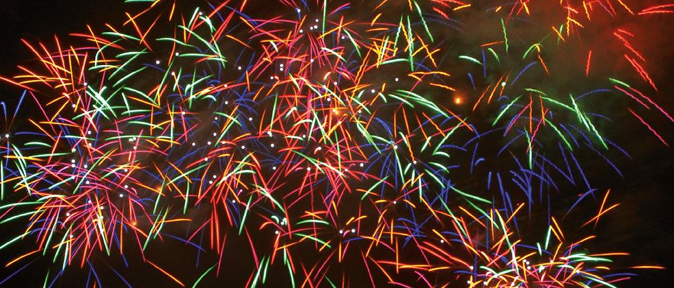 Panoramapostkarte Feuerwerk