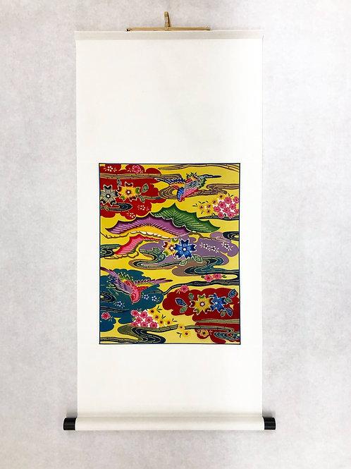 琉球紅型掛軸「鶴雲桜松流水」