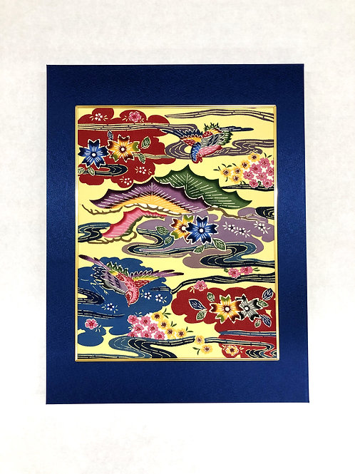 琉球紅型パネル「鶴雲桜松流水」