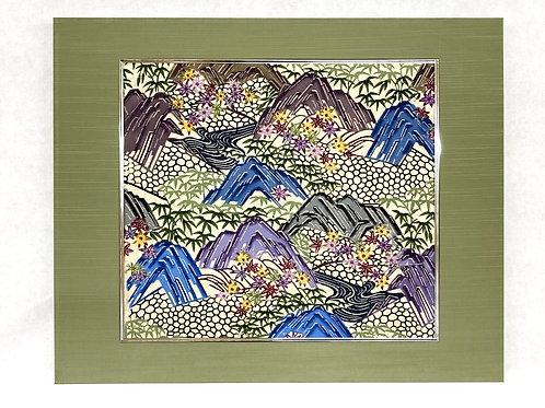 琉球紅型パネル「山紫水明」