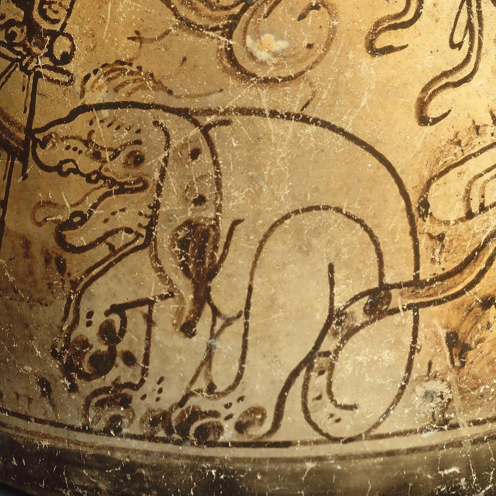 Фрагмент сосуда с изображением собаки. Майя, 7-8 вв. н.э. Коллекция The Metropolitan Museum of Art.