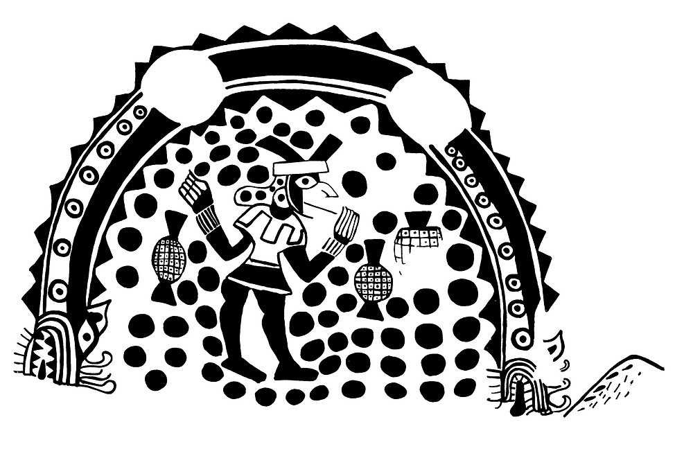 Сосуд с изображением ритуала потребления коки. Моче, Перу, 500 - 700 гг. н.э. Коллекция Museo de Arqueologia de la Universidad de Trujillo. Прорисовка Christopher B. Donnan and Donna McClelland Moche Archive, 1963-2011.