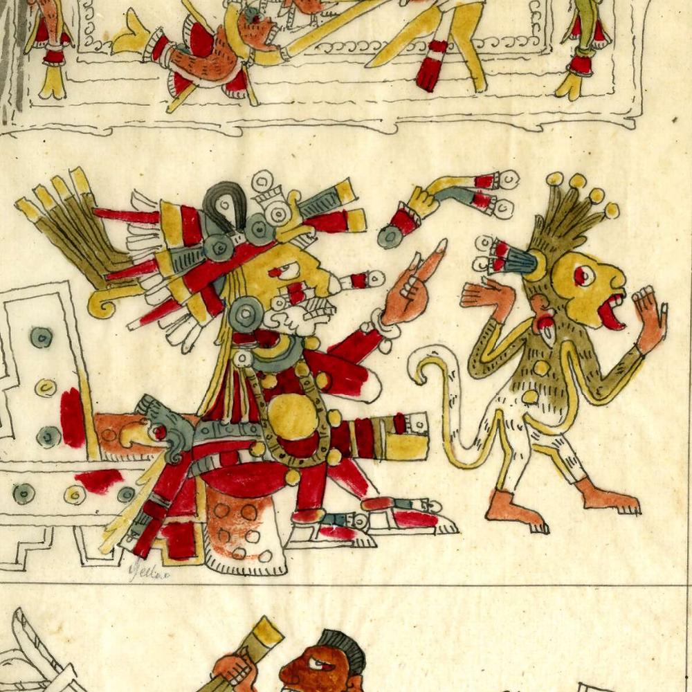 Шочипилли и обезьяна. Фрагмент кодекса Борджиа. Факсимиле из коллекции the British Museum.