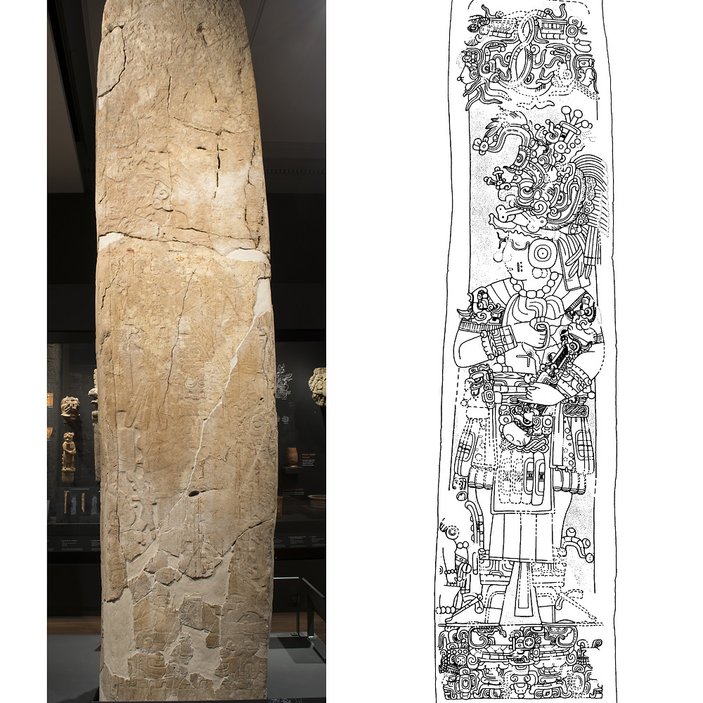 Стела 6 (оригинал слева, прорисовка справа), Караколь, Белиз. Майя, 603 г. н.э. Коллекция Penn Museum, Philadelphia.