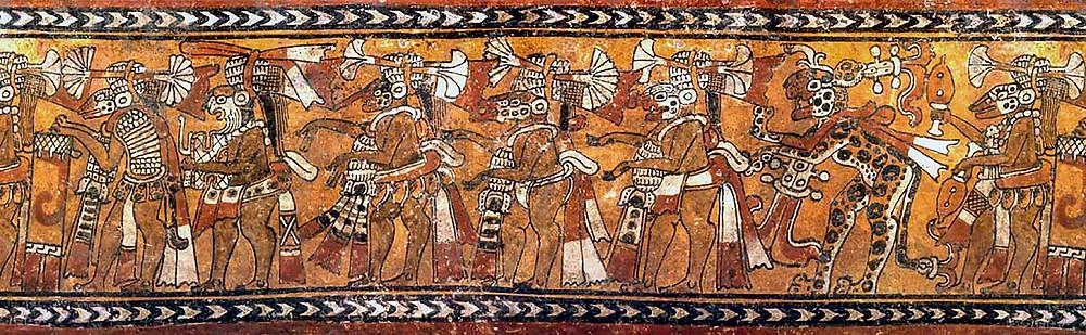 Музыканты в костюмах животных. Развертка изображения на сосуде майя. Фотография Джастина Керра.