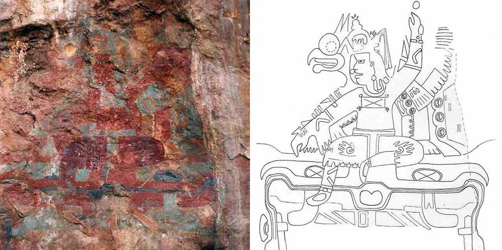 1. Фреска из пещеры Окстотитлан, Герреро, Мексика. 2. Прорисовка фрески.
