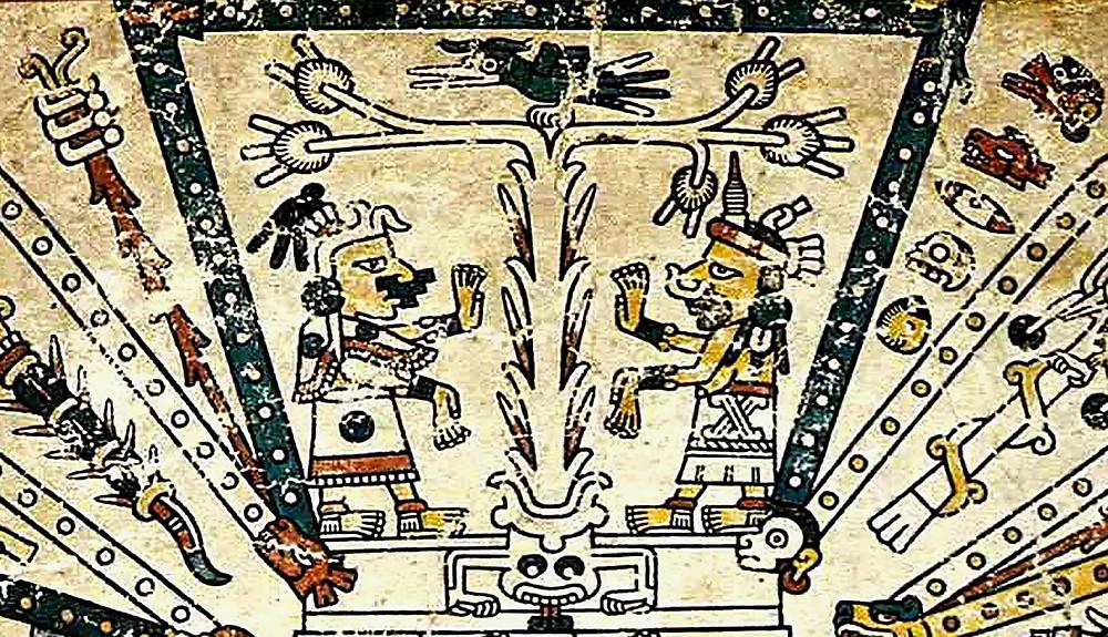 Запад. Фрагмент кодекса Фейервари-Майера. Ацтеки. Коллекция World Museum, Ливерпуль.