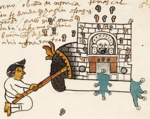 Темаскаль. Фрагмент кодекса Тудела. Коллекция El Museo de America, Madrid