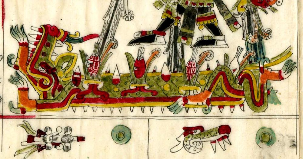 Сипактли. Кодекс Борджиа. Фрагмент факсимиле из коллекции The British Museum.