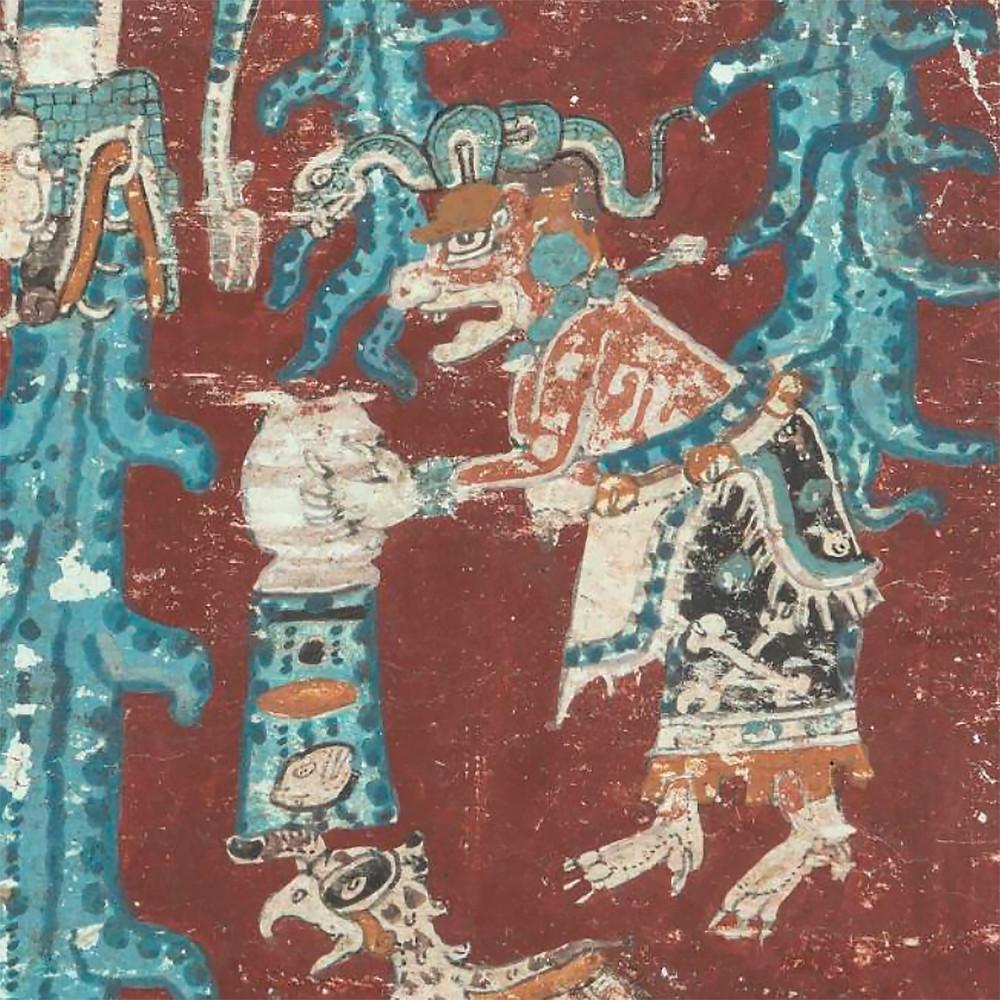 Иш-чель переворачивает сосуд с водой, что, вероятно, символизирует великий потоп. Дрезденский кодекс. Майя, 13-14 вв. н.э. Коллекция Saxon State and University Library, Дрезден.