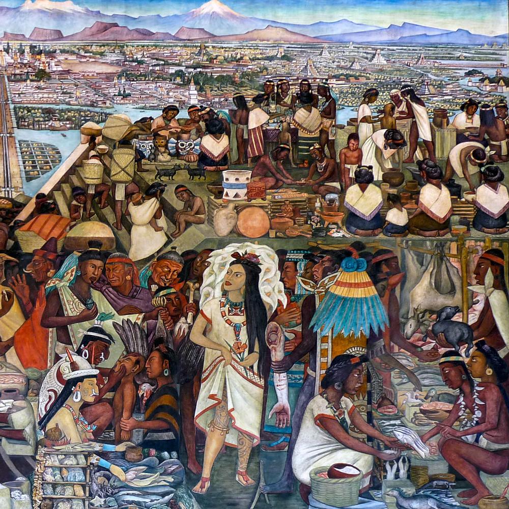 Великий Теночтитлан. Фрагмент фрески. Диего Ривера, 1945. Palacio Nacional de México.