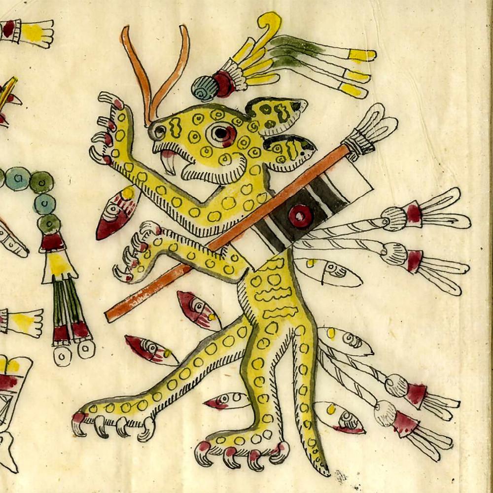 Ягуар в окружении каменных ножей. Фрагмент кодекса Борджиа. Факсимиле из коллекции the British Museum.