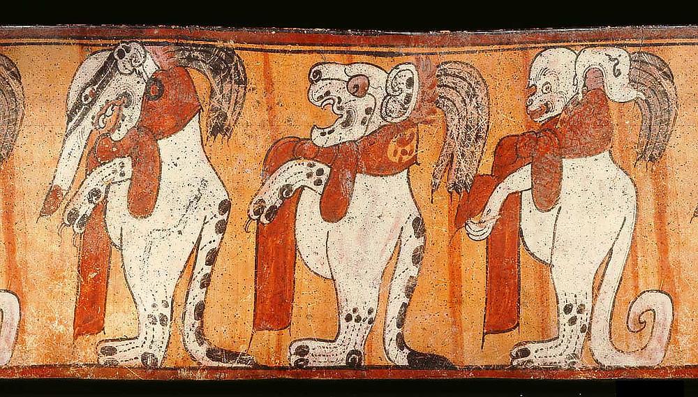 Развертка сосуда с изображениями енота, ягуара и обезьяны. Иллюстрация The Maya Vase Book, Vol. 4 p. 622. Источник: research.mayavase.com