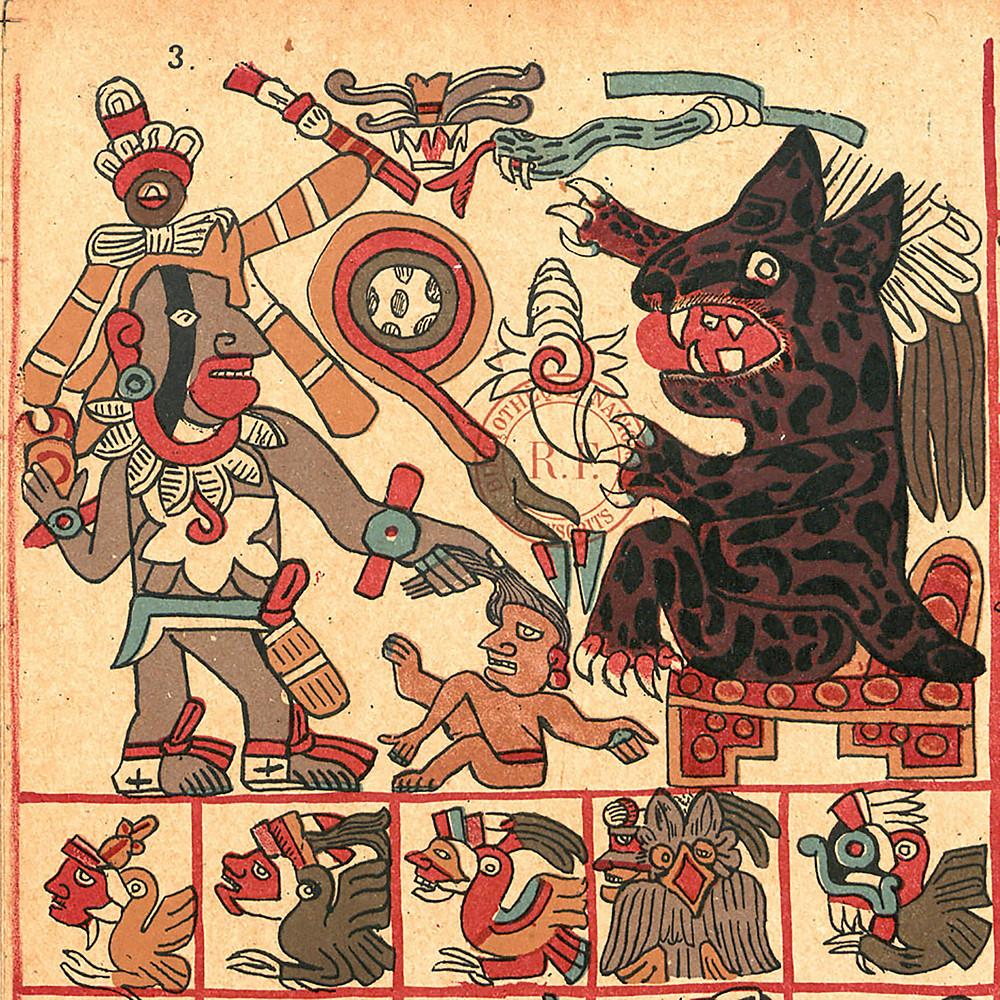 Кецалькоатль и Тепейоллотль. Фрагмент кодекса Тоналаматль Аубин. Коллекция Instituto Nacional de Antropología e Historia, Mexico.
