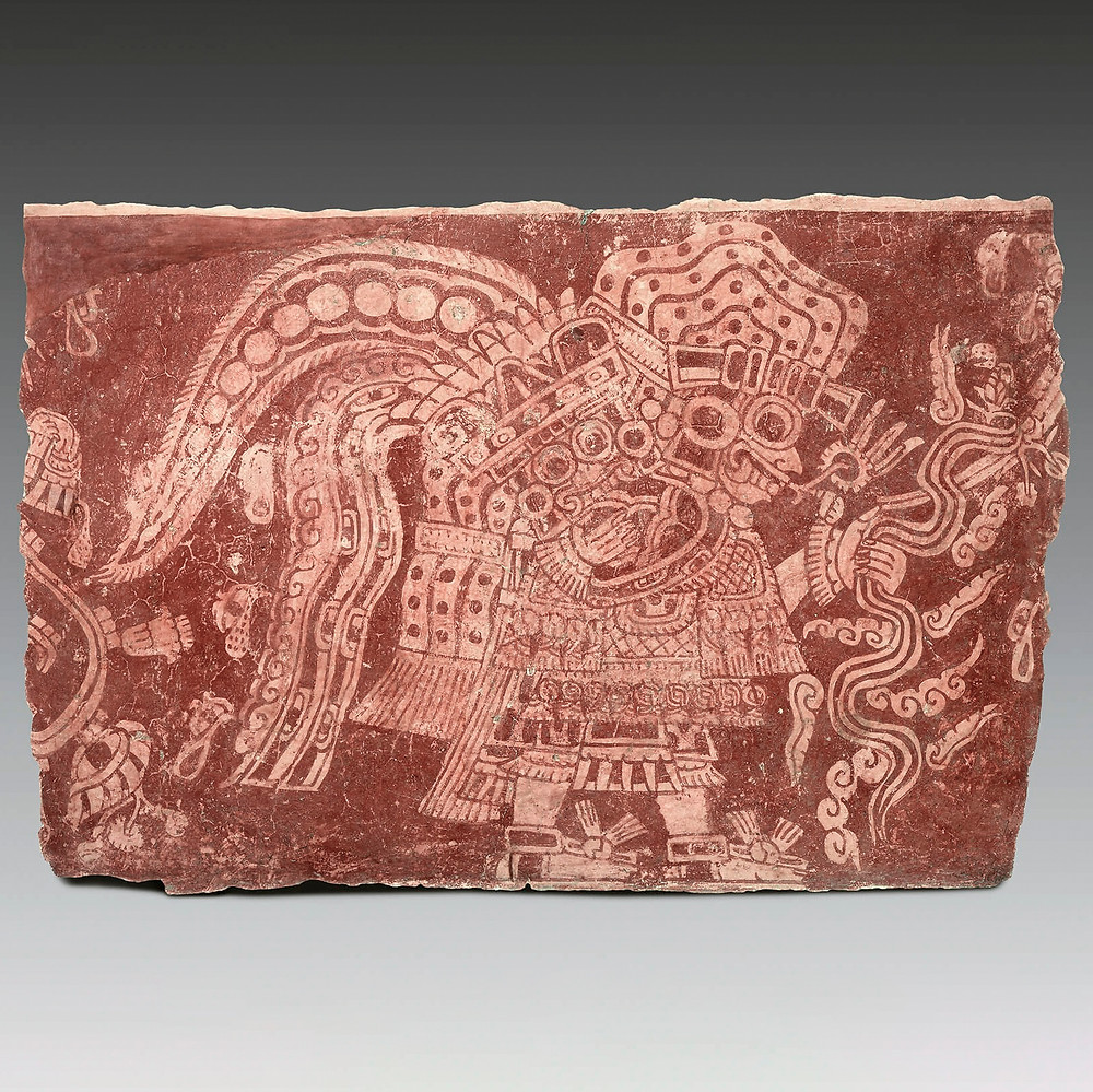 Фрагмент настенной росписи. Теотиуакан, примерно 500 гг. н.э. Коллекция Museo Amparo, Пуэбла, Мексика.