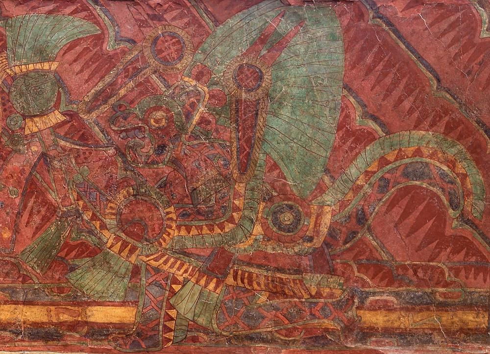 Ягуар с сетчатым узором. Фрагмент настенной росписи. Теотиуакан 400-600 гг. н.э. Коллекция Dumbarton Oaks Museum, Washington.