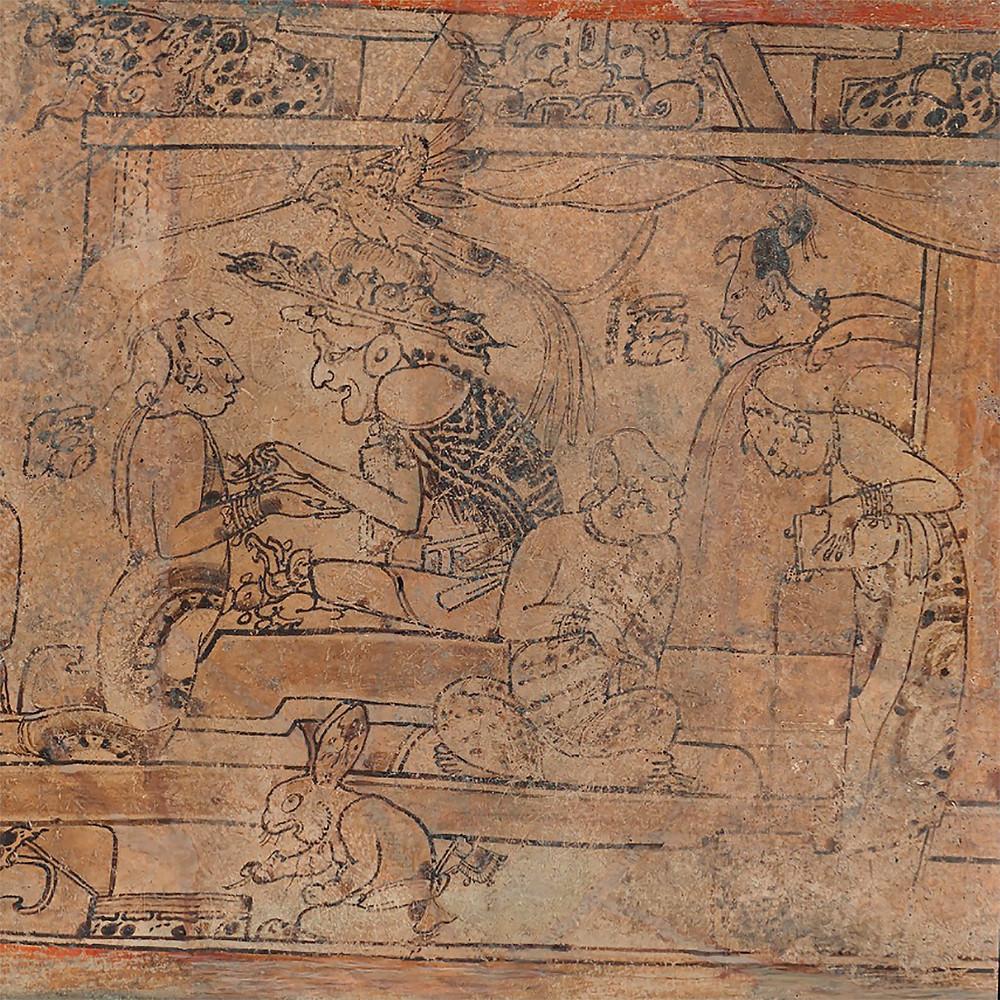 Фрагмент росписи сосуда. Майя, 670-750 гг. н.э. Коллекция Princeton University Art Museum.