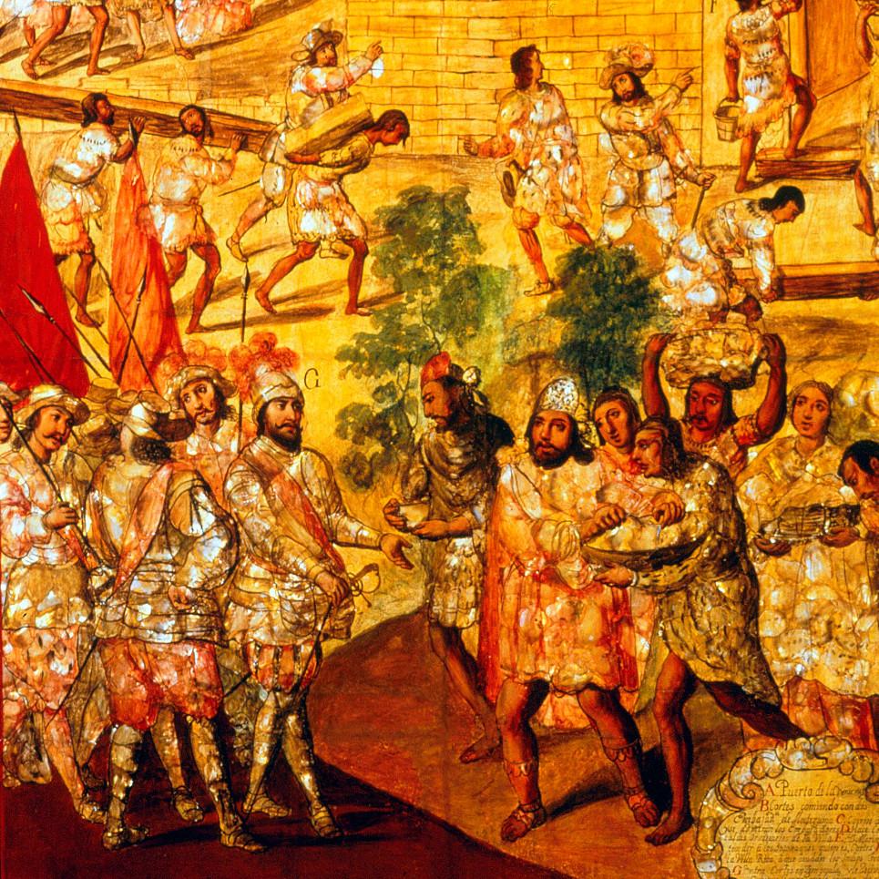 Фрагмент. Conquest of Mexico. Неизвестный автор, 1676-1700 гг. Коллекция Museo de América, Madrid.