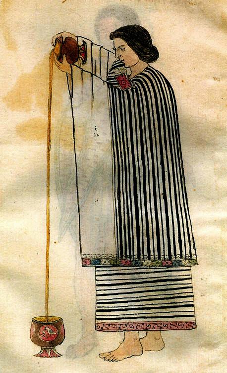 Женщина переливает какао из одной чаши в другую. Кодекс Тудела. 16 в. н.э. Коллекция Museo de America, Мадрид.