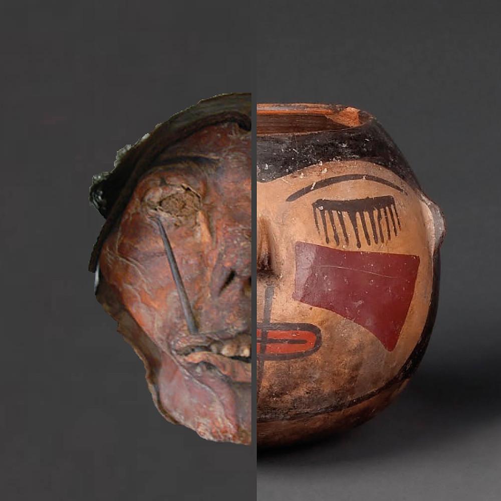 Мумифицированная трофейная голова из коллекции Museum zu Allerheiligen, Schaffhausen  и сосуд в виде трофейной головы культуры Наска (1-800 гг. н.э.) из коллекции Museo Larco, Lima.