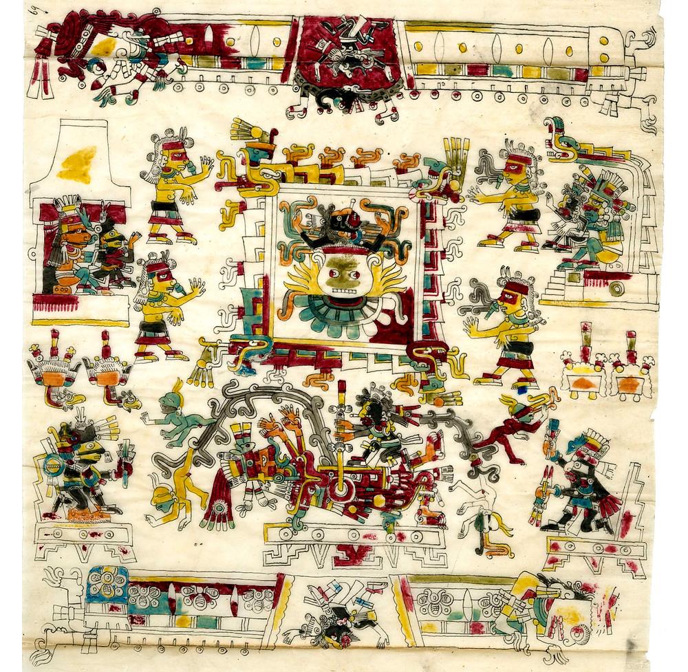 Церемония нового огня. Фрагмент кодекса Борджиа. Факсимиле из коллекции The British Museum.