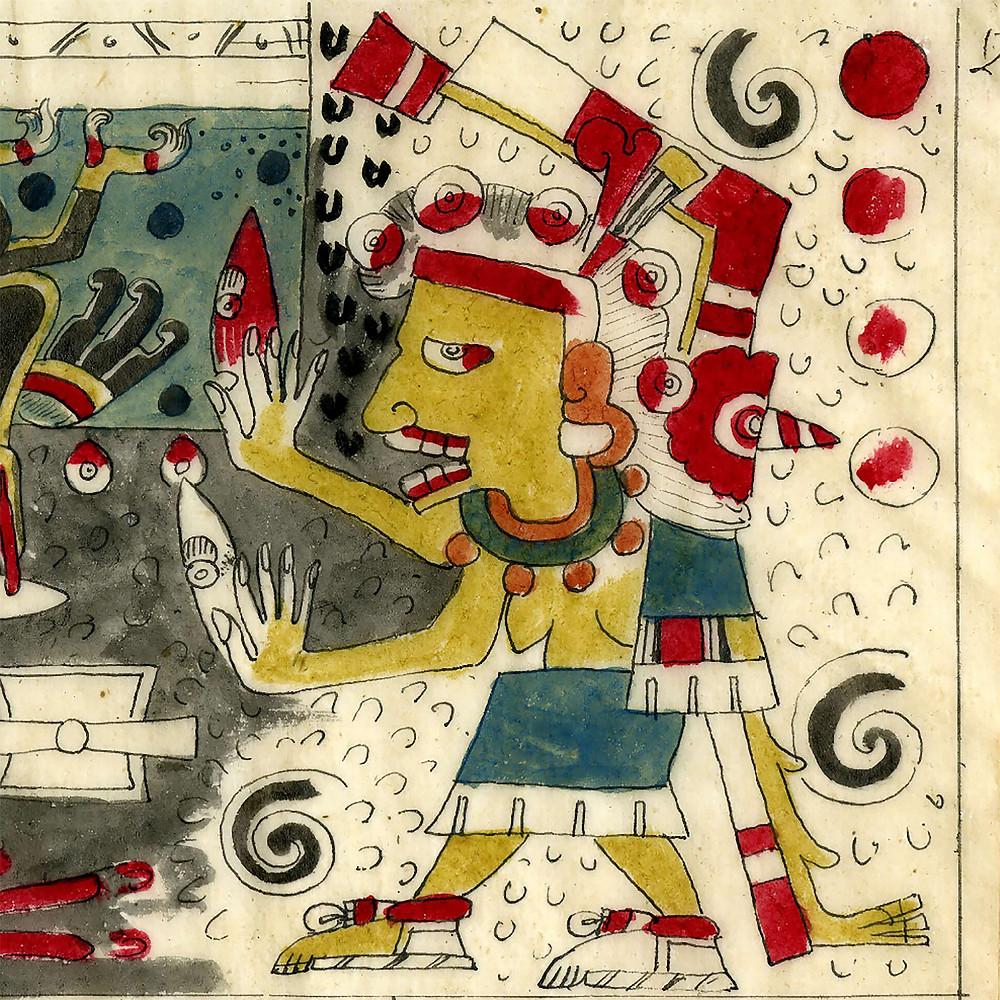 Миктлансиуатль. Фрагмент кодекса Борджиа. Факсимиле из коллекции British Museum.