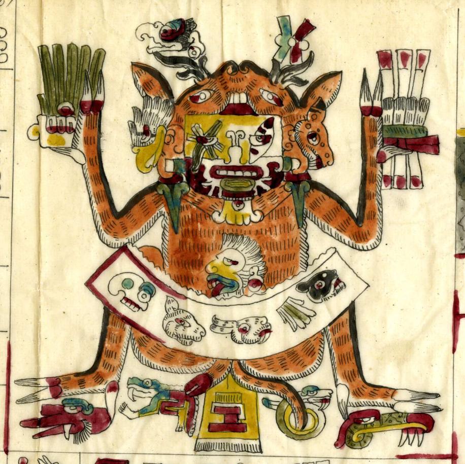 Шочипилли в шкуре оленя. Фрагмент кодекса Борджиа. Факсимиле из коллекции the British Museum.