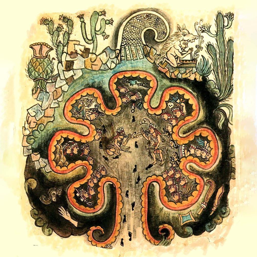 Пещера Чикомосток. Фрагмент из Historia Tolteca-Chichimeca. Коллекция Bibliothèque nationale de France, Paris.