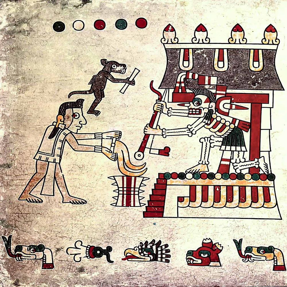 Умерший и его собака-компаньон подносят дары Миктлантекутли, владыке Миктлана. Codex Laud. Коллекция Bodleian Library, Oxford.