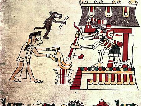 Ацтекский миф о сотворении человека. Кецалькоатль и Шолотль спускаются в Миктлан