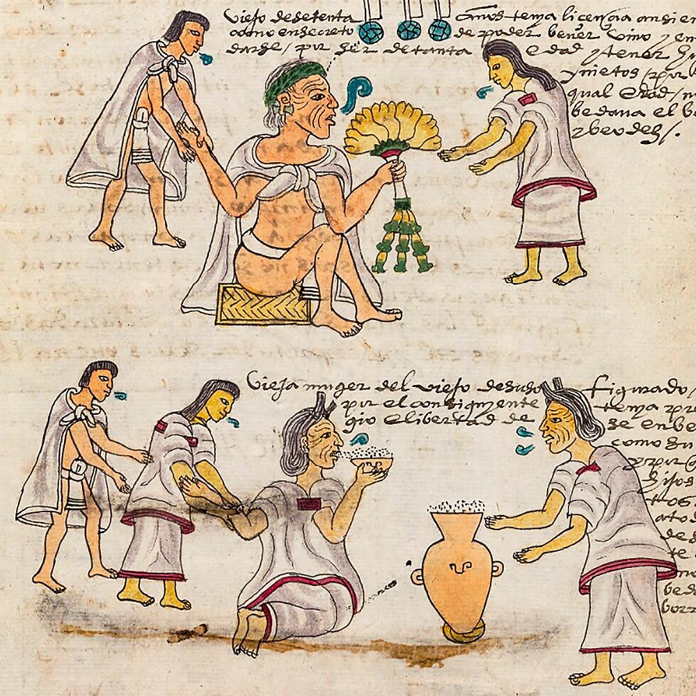 Пожилые люди в состоянии опьянения. Фрагмент кодекса Мендоса. Коллекция Bodleian Library, Oxford.
