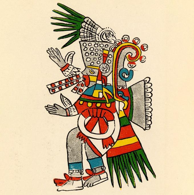 Репродукция зарисовки Мигеля Коваррубиаса. Изображение бога Тескатлипока. Бурбонский кодекс.