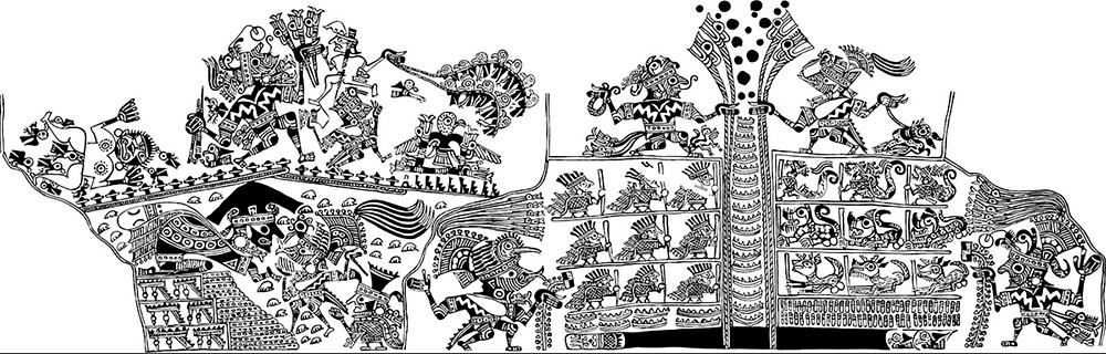 Сцена погребения. Моче, 100-800 гг. н.э. Прорисовка изображения на сосуде из коллекции Fowler Museum at UCLA, Los Angeles.