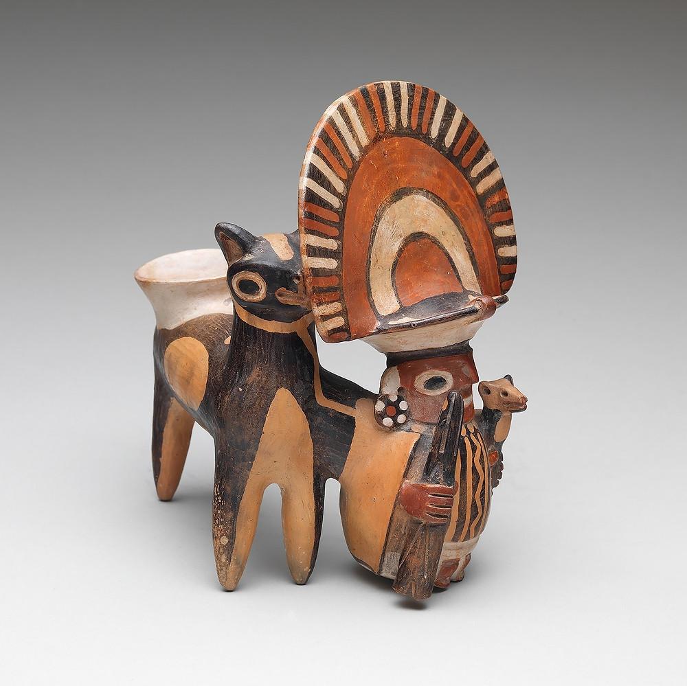 Лама и мужчина, культура Рекуай, 4-7 вв. н.э. Коллекция The Metropolitan Museum of Art.