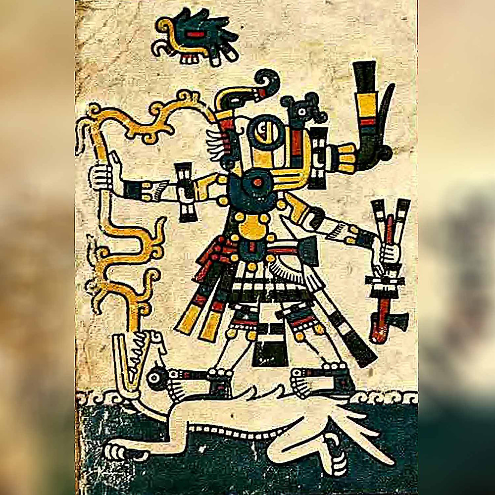 Бог дождя Тлалок и богиня земли Сипактли. Фрагмент кодекса Фейервари-Майера. Ацтеки. Коллекция World Museum, Ливерпуль.