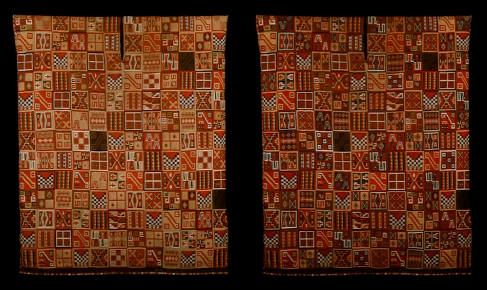 Слева текущий вид туники. Справа реконструкция первоначального вида. Andrew J. Hamilton. Иллюстрация к лекции прочитанной в Yale University Art Gallery.