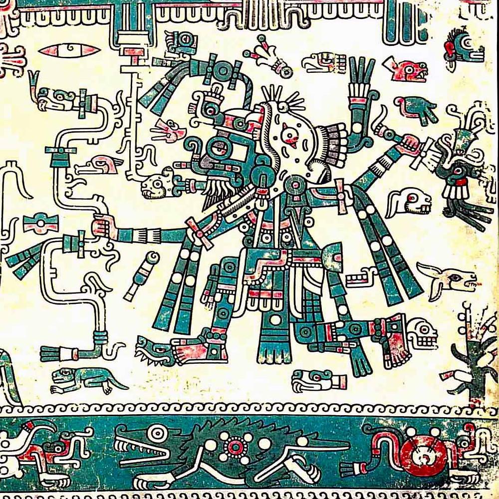 Тлалок и Сипактли. Codex Laud. Ацтеки. Коллекция Bodleian Library, Oxford.