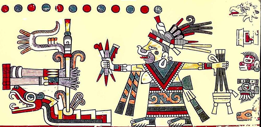 Фрагмент кодекса Лод. Богиня в образе жрицы, требующей жертв. Коллекция The Bodleian Library, Oxford