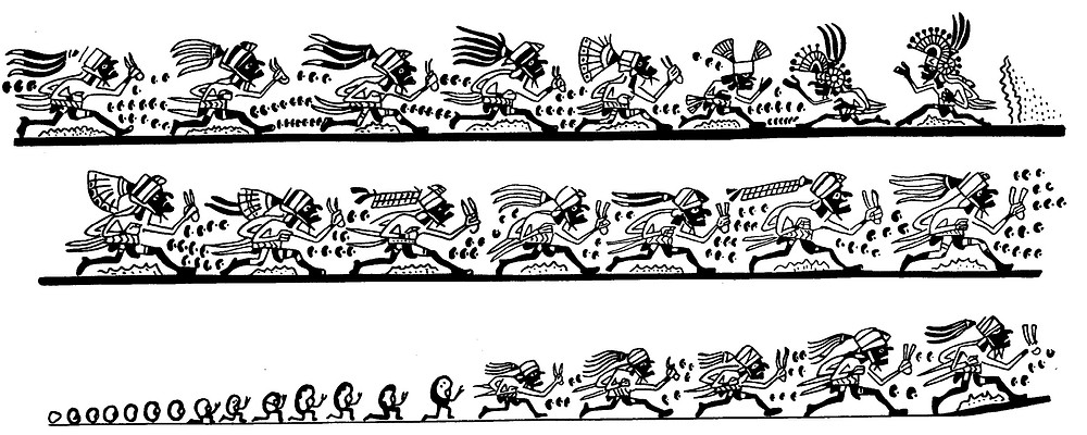 Бегуны, появляющиеся из фасолин. Изображение с сосуда культуры Моче, Перу, 500 - 700 гг. н.э. Коллекция Übersee-Museum, Bremen. Прорисовка Christopher B. Donnan and Donna McClelland Moche Archive, 1963-2011.