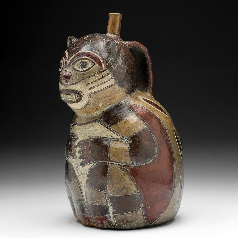 Сосуд в форме пампасской кошки. Наска, 180 г. до н.э. - 500 г. н.э. Коллекция Art Institute of Chicago.