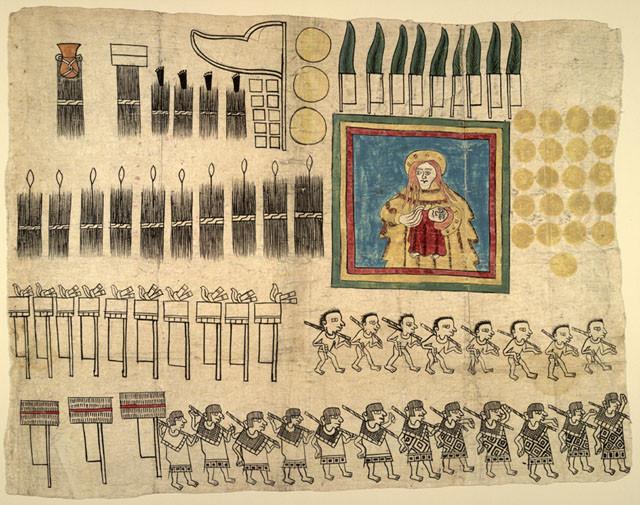 Кодекс Уешотцинко. Колониальный период. Написан на бумаге аматль. Коллекция Library of Congress, Washington, D.C.