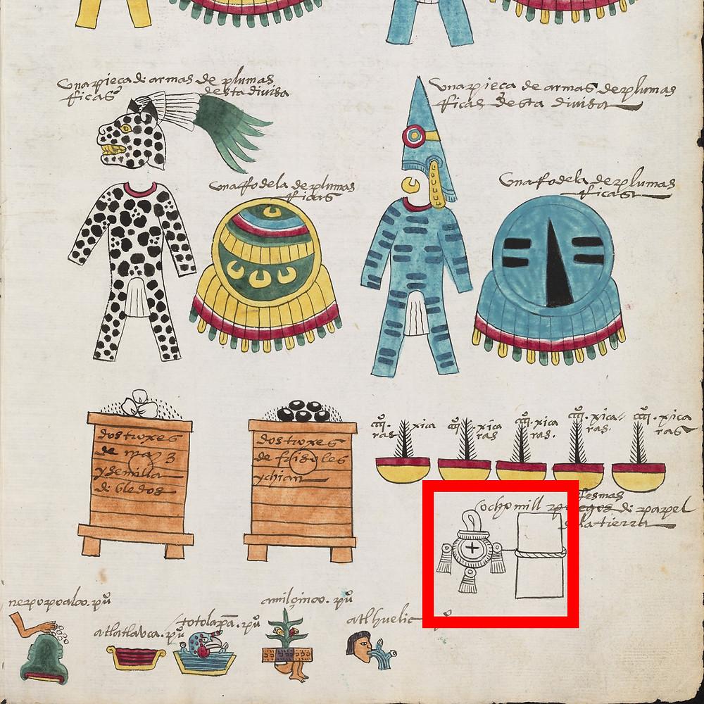 Бумага в перечне товаров, отправляемых в Теночтитлан. Фрагмент кодекса Мендоса.